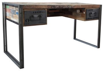 Spike Industrial 2 Drawer Desk - eclectic - desks - new york - Zin Home