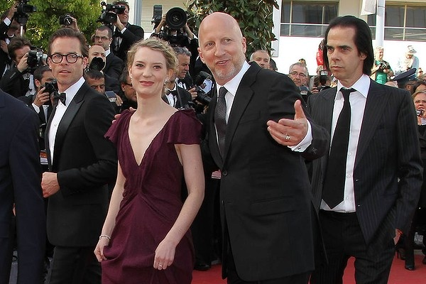 "(From L) Australian actor Guy Pearce, Australian actress Mia Wasikowska, Australian director John Hillcoat and Australian musician and writer Nick Cave arrive for the screening of ""Lawless""."