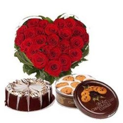 Exclusive combo of Fresh 24 Red Roses Heart Shape Arrangement with 500 gms Chocolate cake and 500 gms Chocolate Danish Cookies Box - Send this exclusive gift to your loved ones through us.