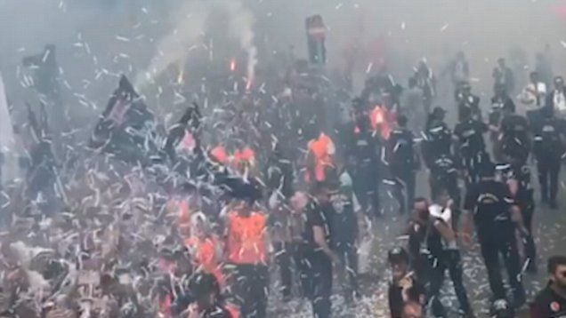 Demba Ba has taken amazing footage of the Besiktas fans as they arrive to celebrate with the players.