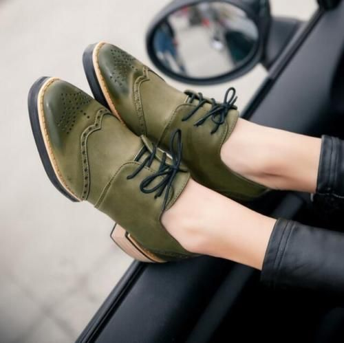 New Womens Lace up Punk Chunky Heels Oxfords Wing Tip Brogue Leather Retro Shoes