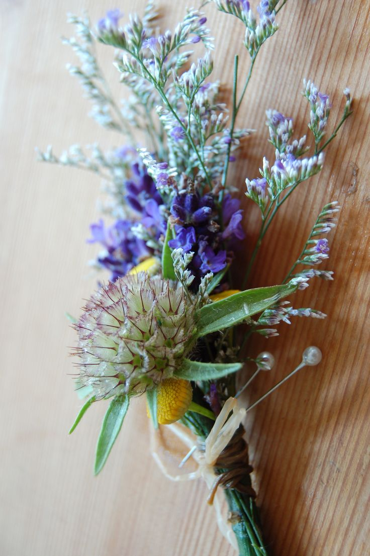 lavender and seedhead buttonhole