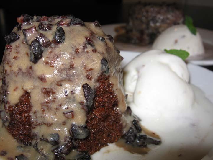 Miniture Malva Pudding with chocolate Nibb sauce, mmmmmmm