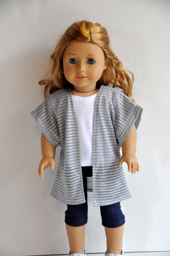 SALE Gray Striped Knit Kimono Jacket made to fit American Girl Doll 18 inch Doll Clothes