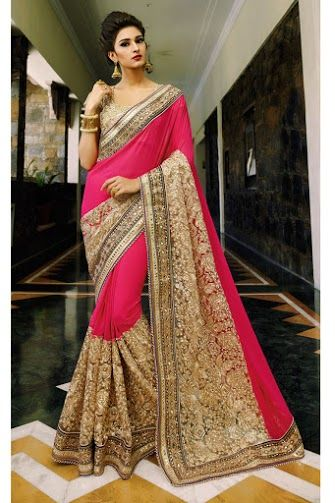 Hot Pink Georgette and 2 part Embroidered Saree