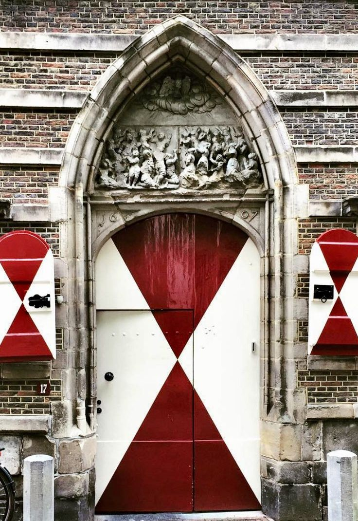 Red and White doors and entrance in Leiden, South Holland, Netherlands