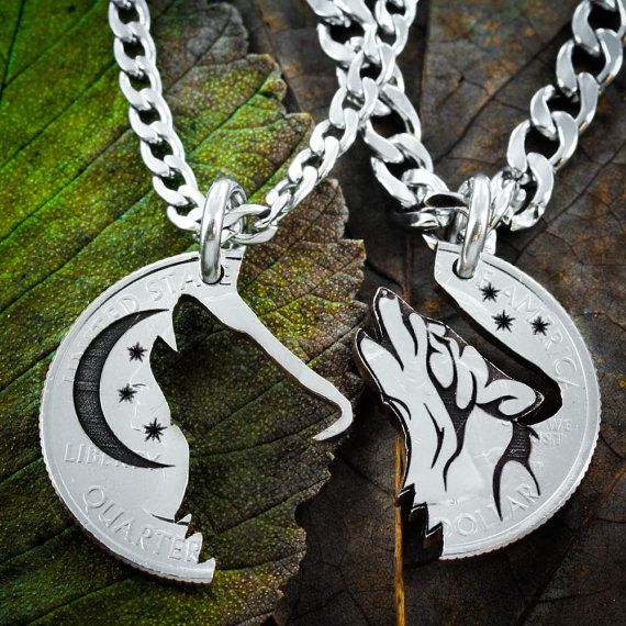Howling Tribal Wolf with Moon necklaces, Best Friends or Couples jewelry, Coin that has been cut and etchedWolfslied