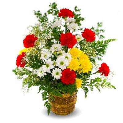 Композиция состоит из 7 гвоздик, 4 кустовых хризантем, аспарагуса, 5 папоротников и 2 гипсофил  http://www.dostavka-tsvetov.com/shop/83/desc/dobroe-utro