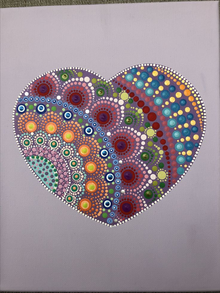 Dot Art painting on canvas. I love the color combination. Hand painting.