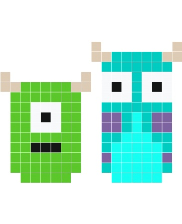 Monsters Inc. Mike Sully pixel art - Stickaz | Perler ...