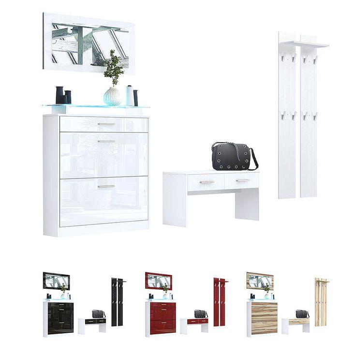 Wardrobe Set Hallway Furniture Loret White - High Gloss & Natural Tones