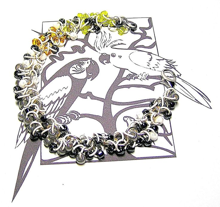 Grey Cockatiel Chainmaille Bracelet - Enchanted Moon