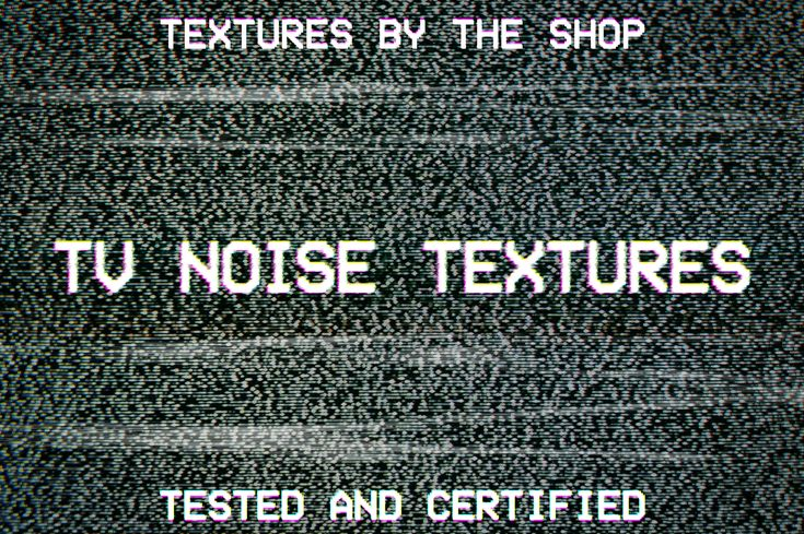 Introducing The Shop's newest set of assets: the TV noise textures. I got inspired by an old CRT TV set I recently put my hands on. I grabbed my trusted DSLR, and started snapping photographs of the static patterns. The resulting 66 images were lightly processed in Camera RAW (lens distortion, color correction, and straightening), for a giant collection of static motifs. The textures feature the noise seen from a typical viewing distance, from up close (revealing the mask), and from the…
