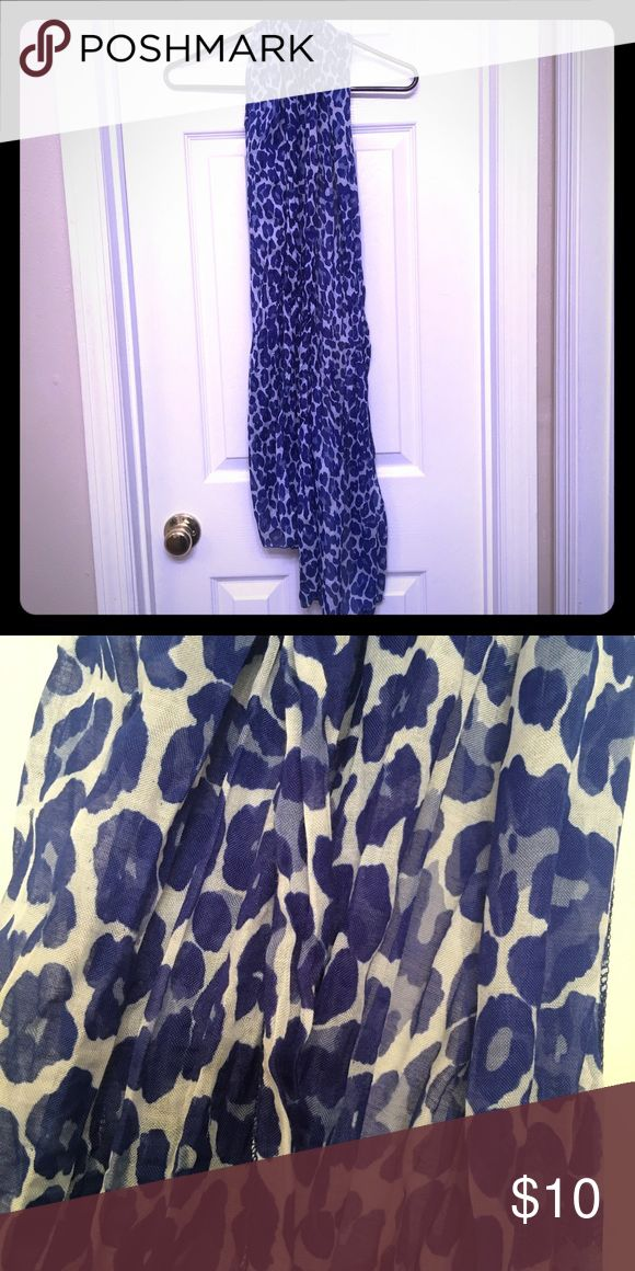 Royal Blue & White Leopard Print Scarf Royal blue and white scarf in leopard print. Purchased at Express. Worn maybe three times. Machine wash, cold. Tumble dry, low. Cool iron when needed. Express Accessories Scarves & Wraps