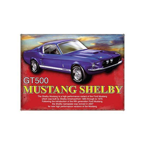 Grote decoratie plaat voor aan de muur met een afbeelding van een Ford Mustang GT500 Shelby. De wanddecoratie is ongeveer 30 x 40 cm en is gemaakt van metaal.