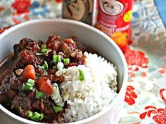 """Jamaican beef stew - I love beef stews and the ingredients in this recipe add a dark rich colour to the stew plus that added """"what is that I taste"""" kind of goodness..."""