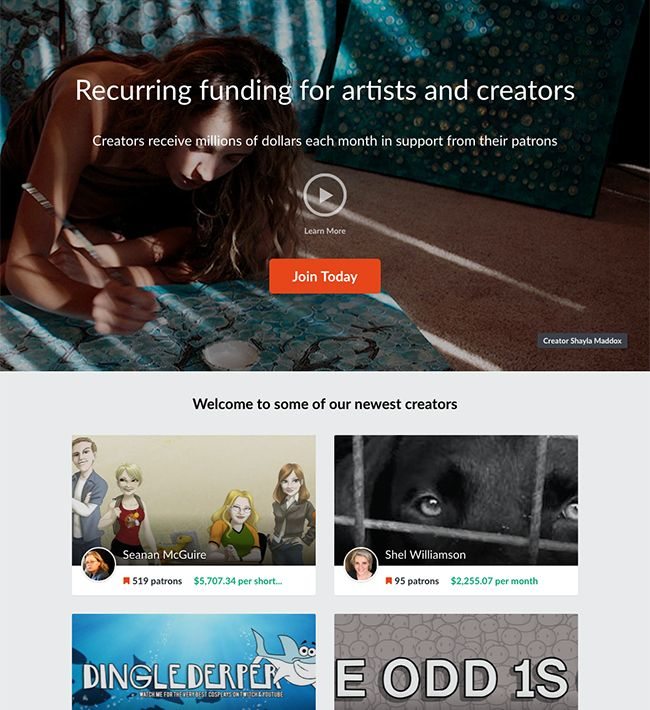 Patreon is the world's largest crowdfunding site for artists     and creators. Join 173,310 artists and creators making a living from their     passion and hard work through subscription crowdfunding from their     patrons.