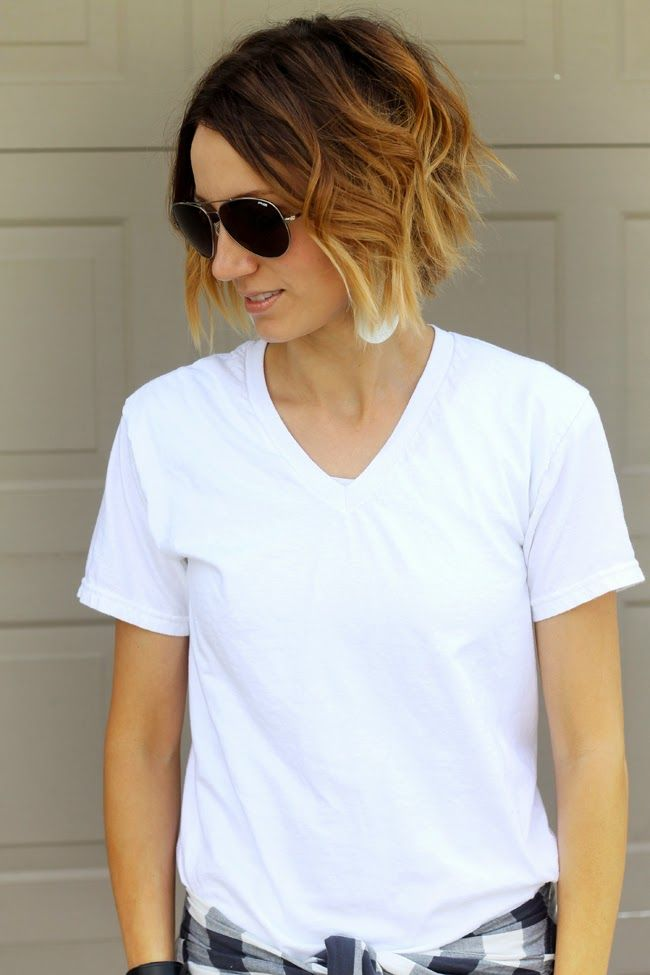 Wavy short ombre hair and aviators                                                                                                                                                     More