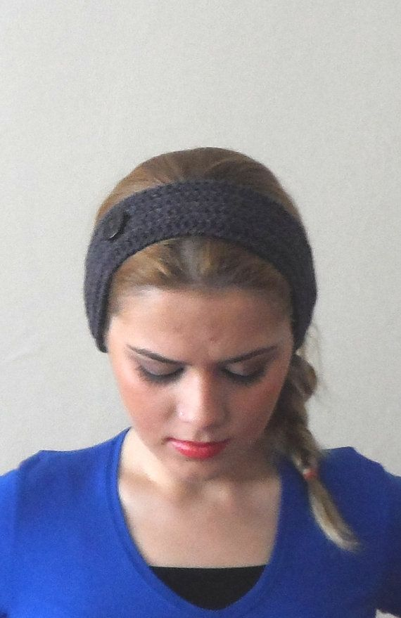 gray purple knitted headband  buttons gray purple hair bands
