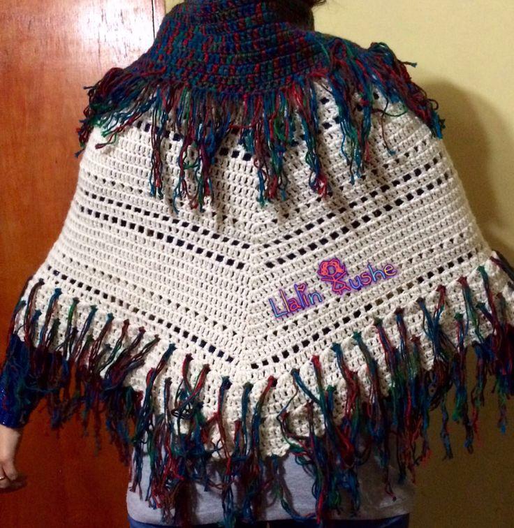 Poncho crochet espalda
