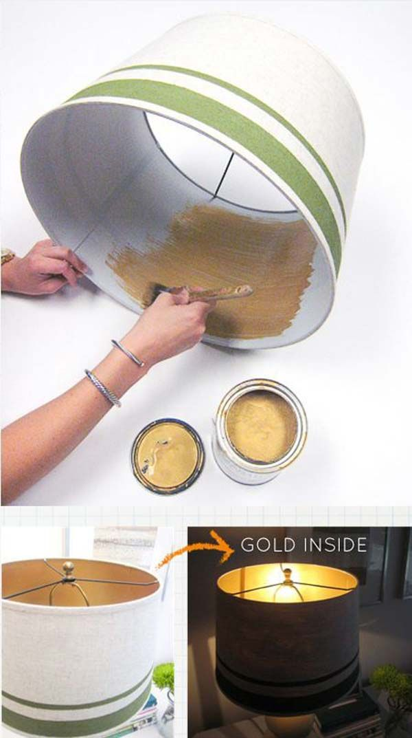 Use metallic gold on the inside of an old lamp shade. | 30 Low-Budget Makeovers You Could Do With Spray Paint