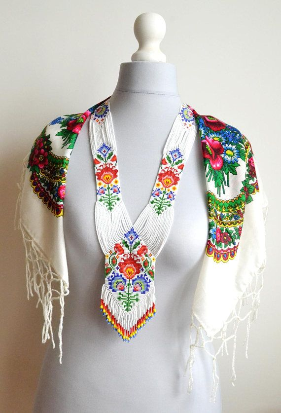 Folk art necklace, Polish necklace, gerdan necklace, Flower necklace, rainbow necklace, folk style, Seed bead necklace, Beaded necklace https://www.etsy.com/listing/529098023/folk-art-necklace-polish-necklace-gerdan