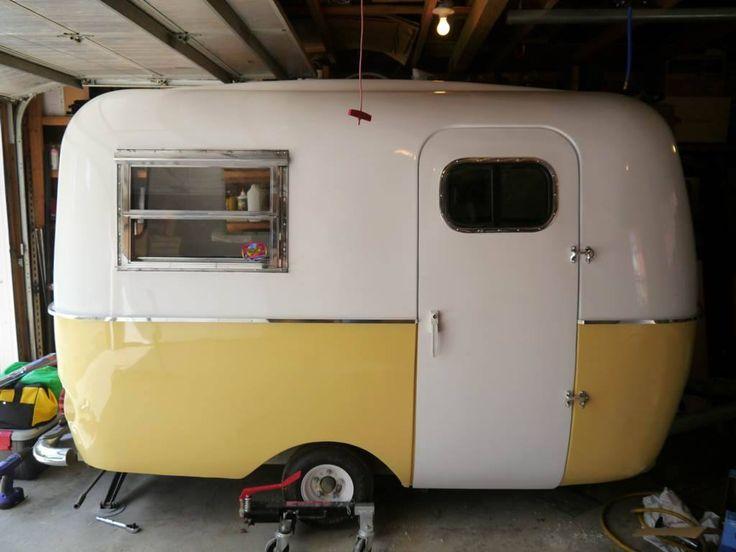 yellow buttercup boler on small wheels vintage camper tiny trailer caravan - Small Camper Trailer