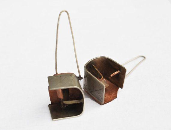 Steampunk dangle earrings  Metalwork earrings  by PikipokaJewelry