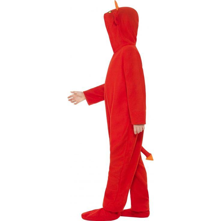 Deze duivel onesie voor kinderen is gemaakt van polyester en heeft een aangehechte capuchon. De rits zit aan de voorkant. Wasvoorschrift: handwas.