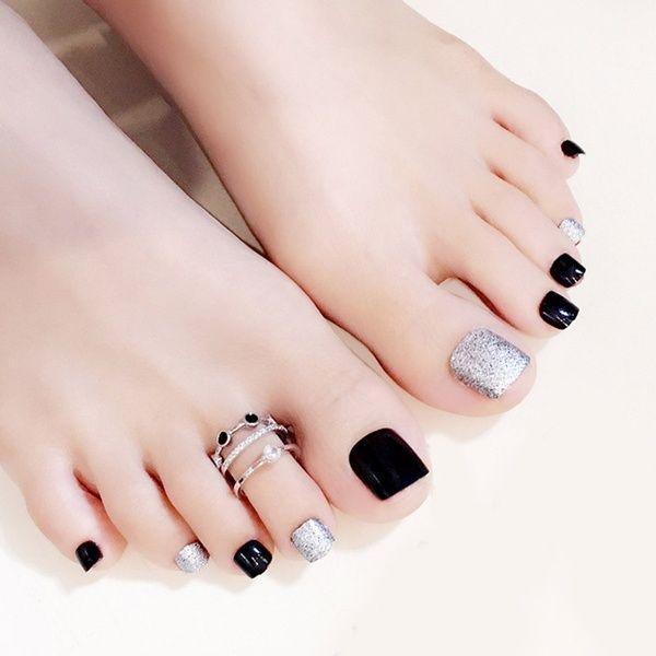 Hot Selling 24 Pcs Set 3d False Toe Full Nail Tips With Glue Lady Girl Toe Art Nails Tool Fake Foot Toenails Wish In 2020 Toe Nails Feet Nail Design Nail Tips