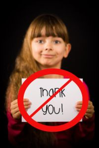 When forcing a thank you creates resentment.  Asking a child to thank a stranger who just hurt them (even if it is in their best interests) is confusing for them and not a good time to teach manners.