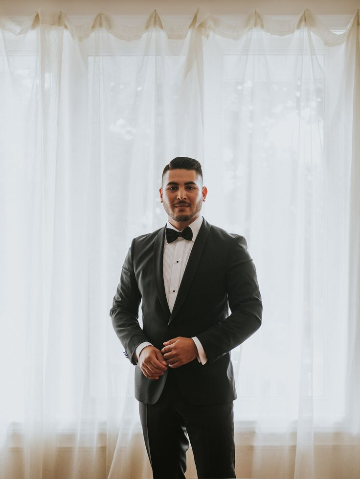 formal portrait of groom on wedding day; PHOTOGRAPHY Joel + Justyna Bedford;