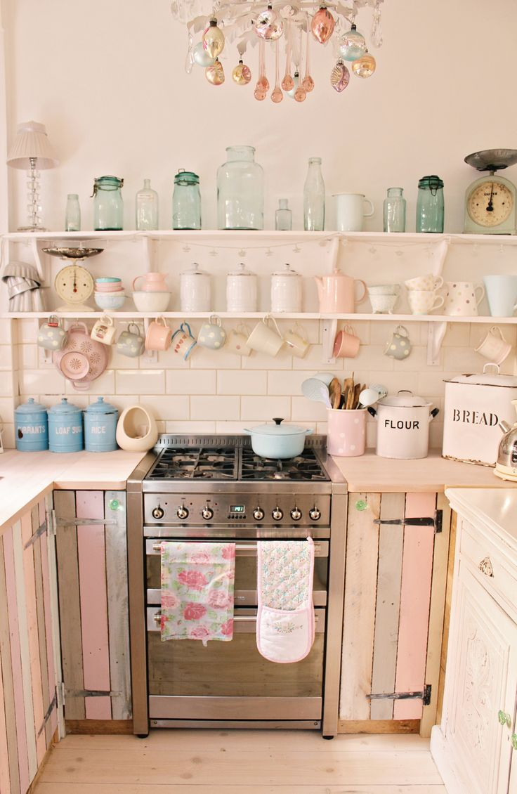 Vintage kitchen decor green images for Kitchen decoration pink