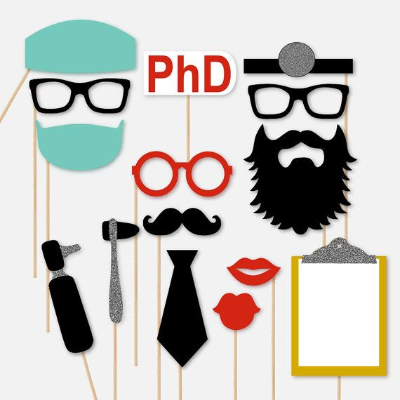Celebrate your Medical School Graduation, Retirement Party, White Coat Ceremony, or just another lunch and learn with this fun doctor themed photobooth prop set. Included in the set are 15 full size pieces in blue, black, white, red, and silver glitter including the following: 2-Black Glasses 1-Round Glasses (red) 1-Big Black Beard 1-Black Mustache 1-Black Formal Tie 1-Head Mirror 1-Surgical Scrubs Hat 1-Surgical Mask 1-PhD Sign 2-Red Lips 1-Clipboard 2-Medical Instruments Each photo pr...