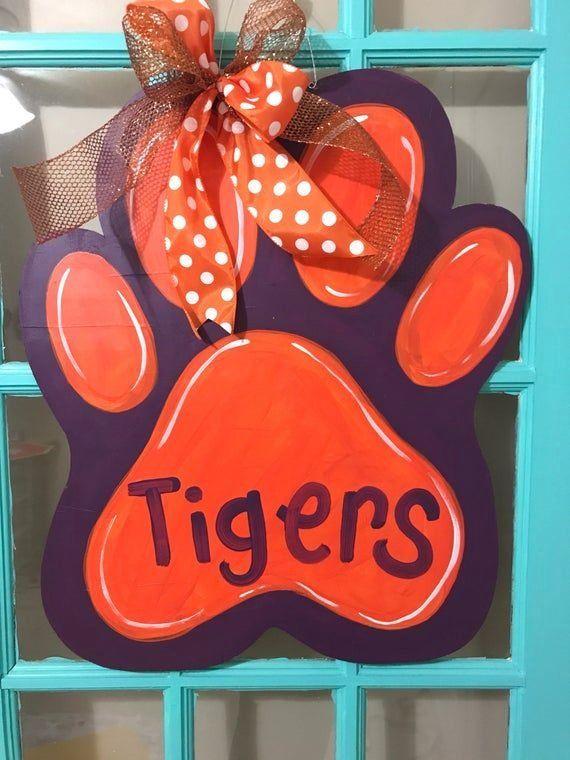 Tigers Paw Football Wooden Door Hanger 1000 In 2020 Wooden Door Hangers Wooden Doors Tiger Paw