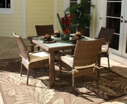 Grenada 5 Piece Square Dining Set With Arm Chairs Antique Brown By Hospitality Rattan 132090 Number Of Boxes Assembly Required No