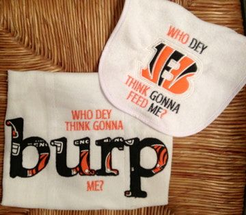 Bengals Who Dey Burp and Bib Set by PolkaDotCheeks on Etsy, $16.50