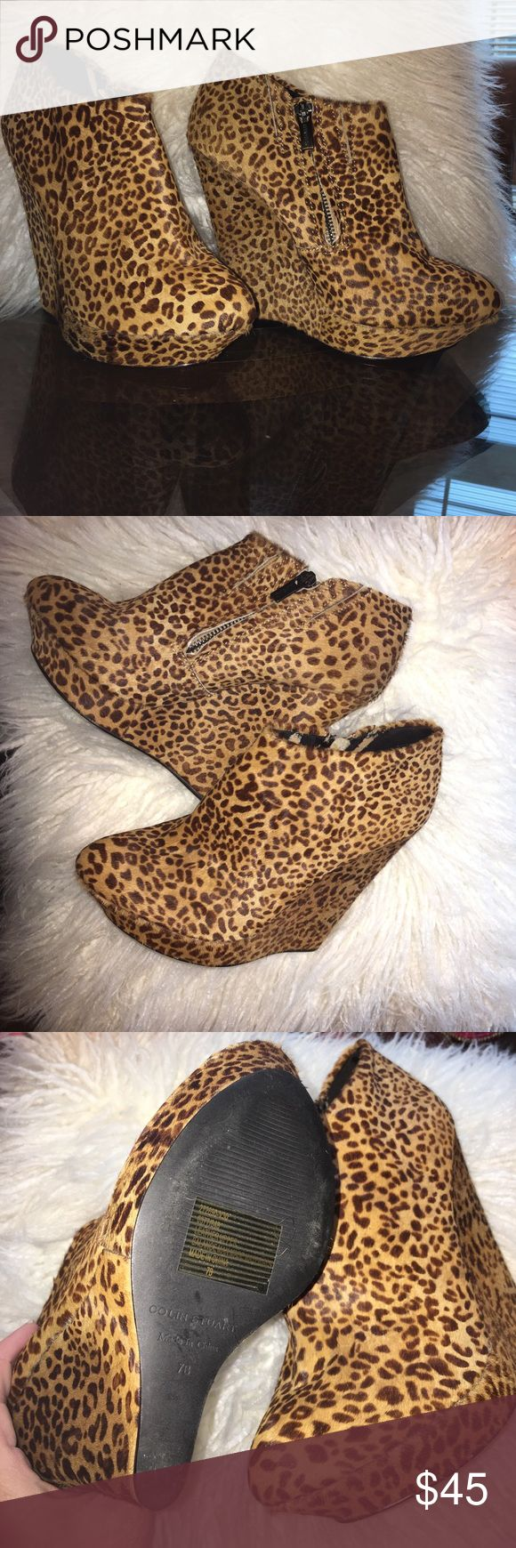 Colin Stuart booties Colin Stewart super cute fur leopard print booties I only wore these once EUC Colin Stuart Shoes Ankle Boots & Booties
