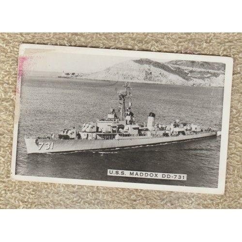 Postcard USS MADDOX DD-731 U.S. Navy Destroyer Sumner Class World War 11