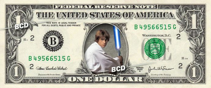 LUKE SKYWALKER on REAL Dollar Bill Star Wars Force Awakens Cash Money Collectible Memorabilia Celebrity by Vincent-the-Artist, $8.88 USD