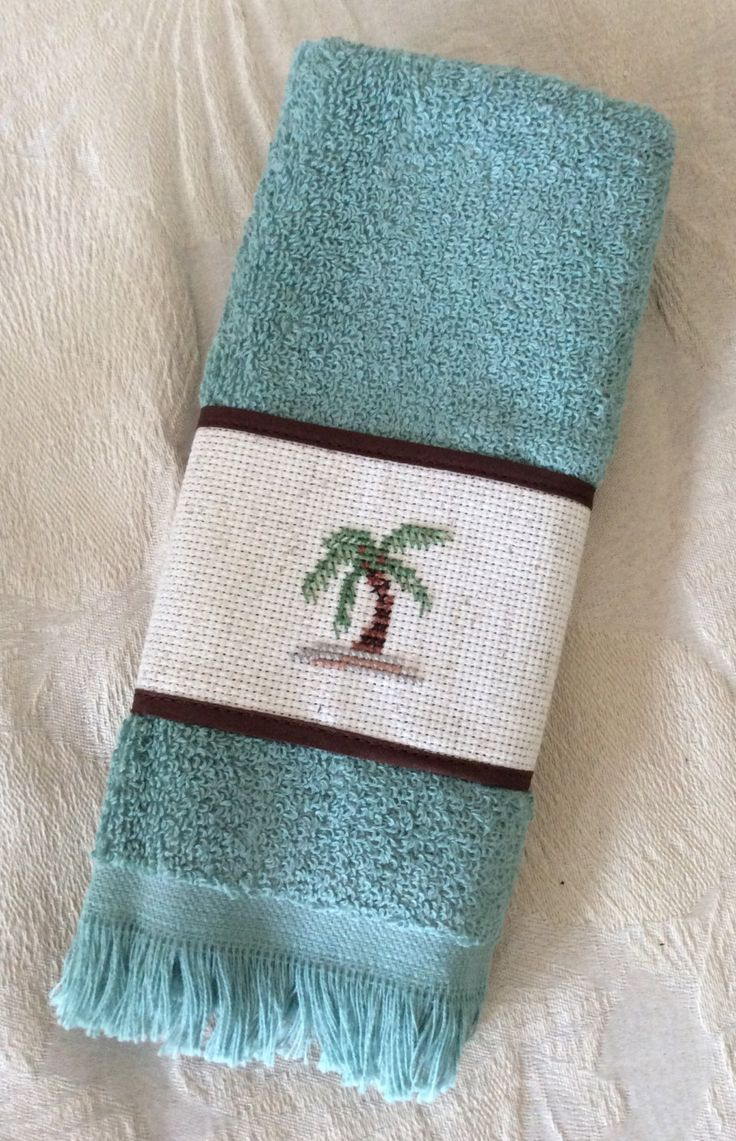Counted cross stitch Palm Tree Guest towel for bath by ...