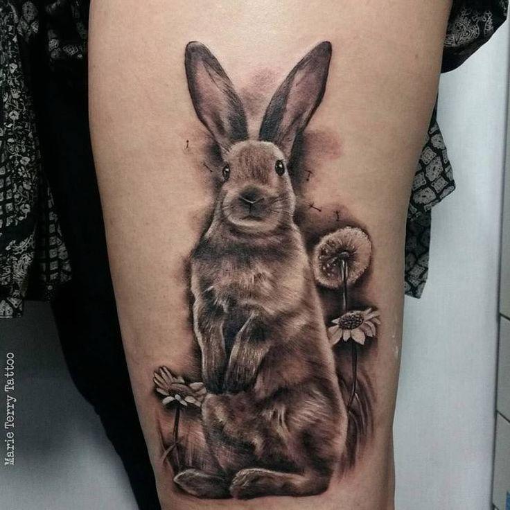 Realist rabbit tattoo