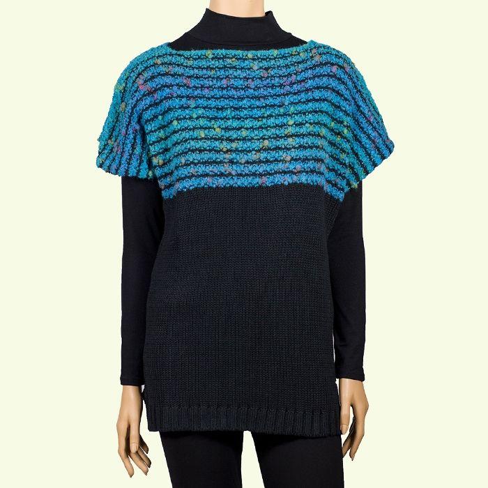 Chaleco de tricot en negro y turquesa. #ModaInverno2016 #jersey