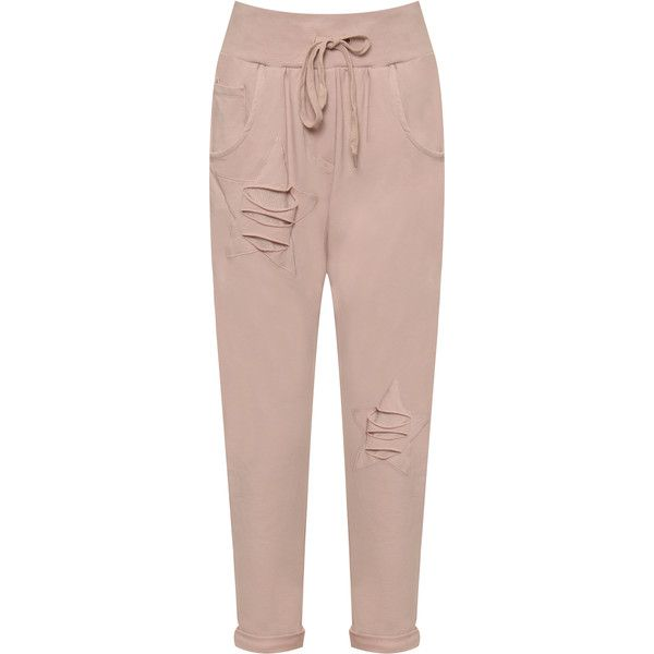 WearAll Distressed Star Jogging Bottoms ($40) ❤ liked on Polyvore featuring activewear, activewear pants, pink and pink sportswear