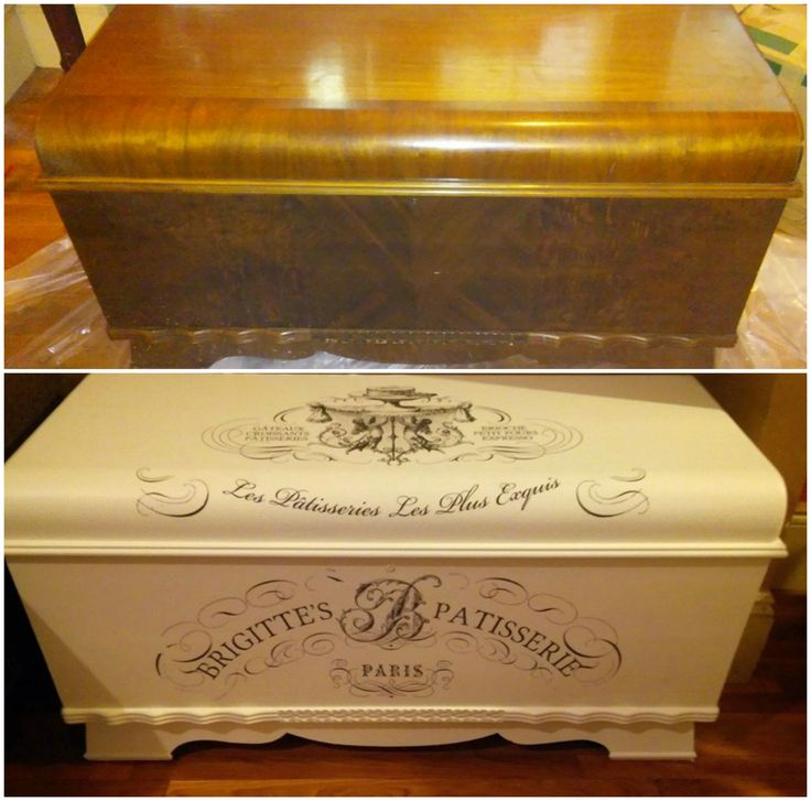1940's bluebird cedar hope chest from the thrift store. Done over in Country white chalk paint, french decor transfers & sealed with polyurethane.