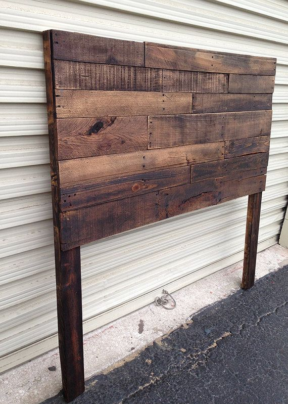 Pallet Headboard Dark Walnut Twin Full by SibusFurnitureDecor