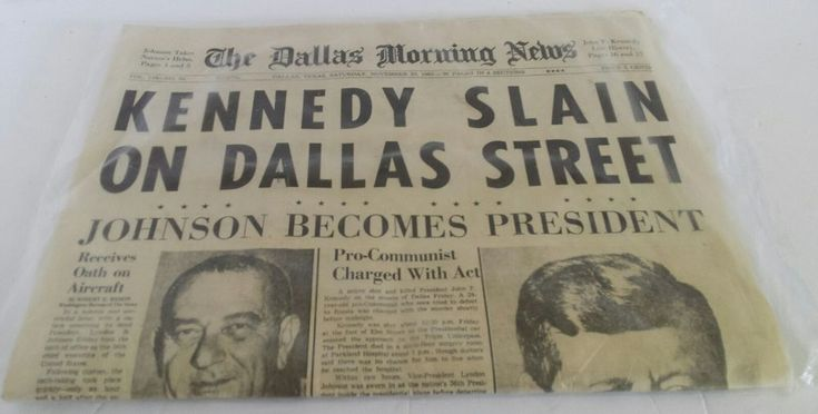 The Dallas Morning News Reproduction Kennedy Slain on Dallas Streets Newspaper #TodayInHistory #veteranownedsmallbusiness #ebay #oldschoolnaturalsandmercantile