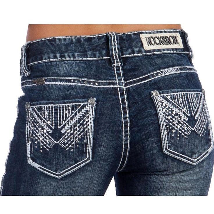 Rock N Roll Cowgirl Vintage Mid-Rise Aztec Jeans