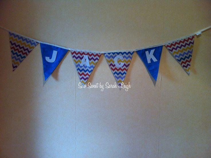 'Jack' custom, multicolour chevron and blue