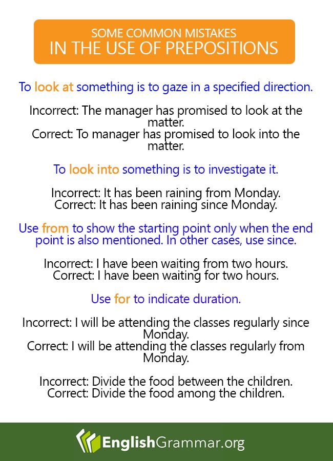 Some Common Mistakes in the use of Prepositions